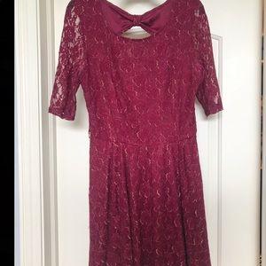 Burgendy and gold lace dress junior size L